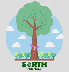 Hands hug green tree vector image