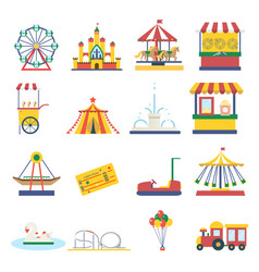 Amusement park flat elements isolated background vector