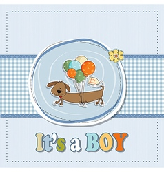 Baby boy shower card with long dog and balloons vector