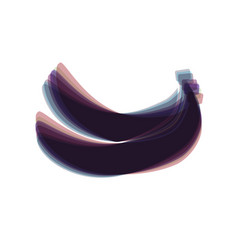 Banana simple sign colorful icon shaked vector