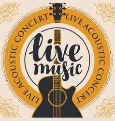 banner for live music with acoustic guitar vector image