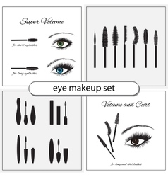 Beautiful eye with makeup accessories vector image vector image