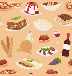 Cartoon italy food cuisine traditional seamless vector