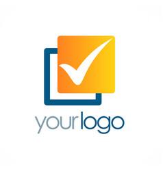 Check mark square logo vector