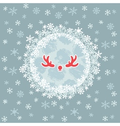 Christmas and New Year round frame with deer horns vector image