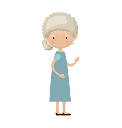colorful full body elderly woman in dress with vector image