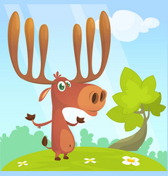 Cool cartoon moose character vector