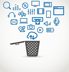 Different icons flowing into a garbage basket vector image vector image