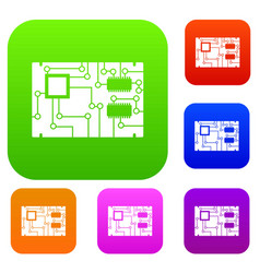 electronic board set color collection vector image vector image