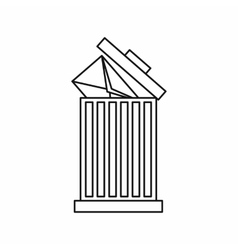 Envelope in trash bin icon outline style vector image vector image