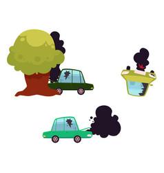 Flat cartoon car accidend crash set vector