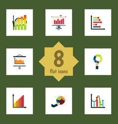 Flat icon graph set of statistic pie bar diagram vector
