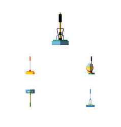 flat icon mop set of cleaning cleaner broom and vector image