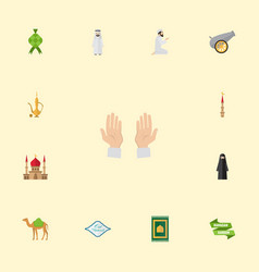 flat icons pitcher mosque dromedary and other vector image
