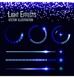 Glowing preloaders and progress bars set vector image