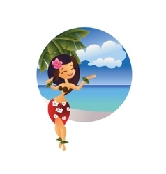 Hawaiian young hula dancer on ocean beach vector