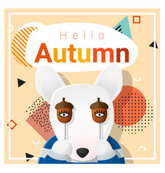 Hello autumn background with happy dog vector