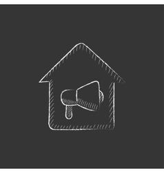 House fire alarm drawn in chalk icon vector