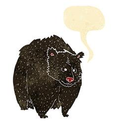 Huge black bear cartoon with speech bubble vector