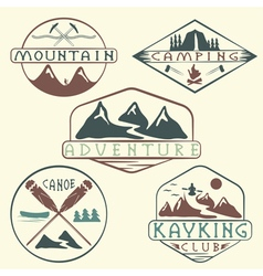 Kayaking campingclimbing and adventure vintage vector