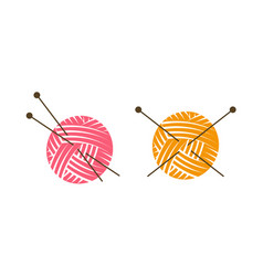 Knit logo or label ball of yarn with knitting vector