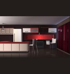 luxury modern kitchen interior vector image vector image