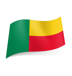 National flag of benin green vertical yellow and vector