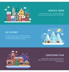 New year and winter travel banners vector