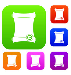paper scroll with wax seal set collection vector image