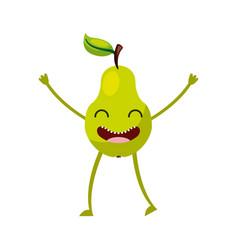 Pear fresh fruit kawaii character vector