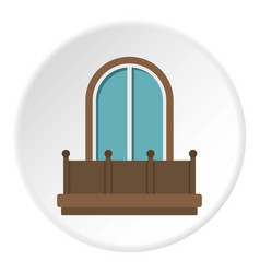 Retro balcony with an arched window icon circle vector