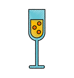 Scribble champagne cup cartoon vector