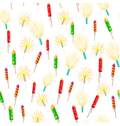 seamless pattern with rockets sparklers fireworks vector image