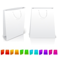 Set of isolated paper bags on white background vector image