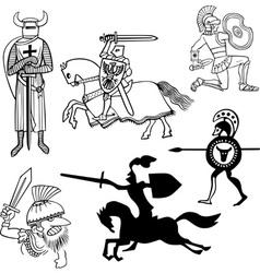 Set of warriors vector image vector image