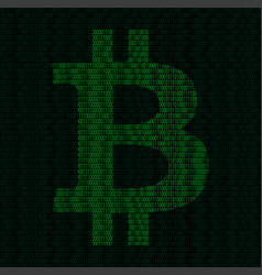 silhouette of bitcoin symbol from binary digits vector image vector image