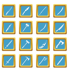 steel arms symbols icons azure vector image