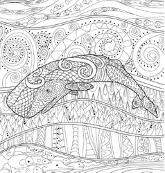 Swimming whale for anti stress coloring vector