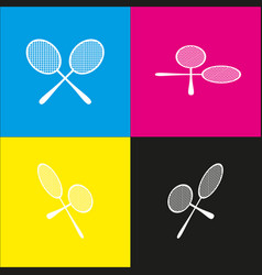 Tennis racquets sign white icon with vector