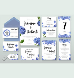 Wedding invitation invite card design hydrangea vector