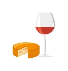 Wine cup and cheese vector