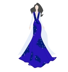 Fashionl brunette woman in stylish evening dress vector image
