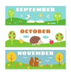 Autumn months calendar flashcards set nature and vector