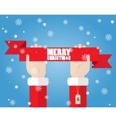 Santa Claus hand holding ribbon Merry Christmas vector image
