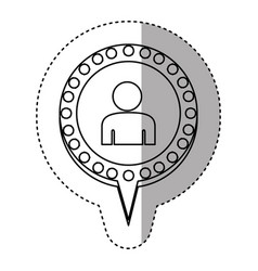 monochrome sticker with half body man and circular vector image