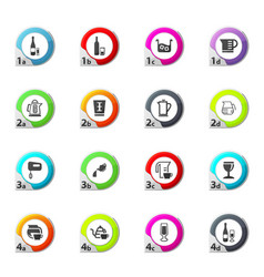 Utensils for the beverages icons set vector