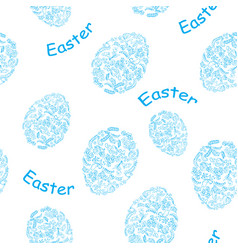 White and blue seamless pattern with easter eggs vector