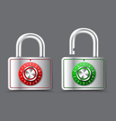 Metal rectangular padlock with open and closed vector