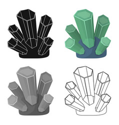 green natural minerals icon in cartoon style vector image