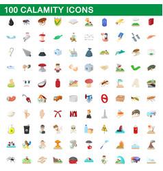 100 calamity icons set cartoon style vector image